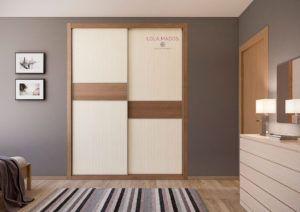 Armarios a medida de puertas correderas Fresno marrón y melamina wood line creme