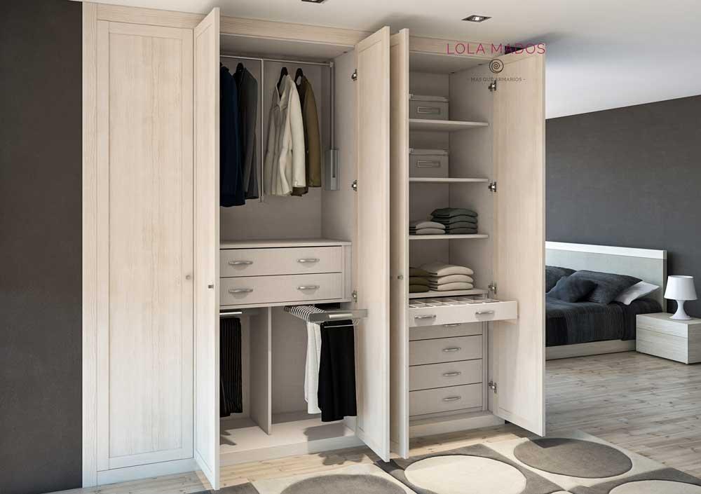 Hacer interior de armarios empotrados a medida lola mados - Armarios con puertas abatibles ...