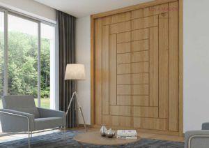 Puertas de armarios correderas en chapa barniz roble, con pantografiado dibujo fresado