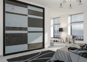 Armario a medida vidrio gris metalizado con vidrio gris antracita, Serie Slim