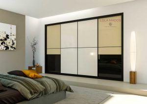 Armario empotrado de puertas correderas a medida vidrio blanco con vidrio negro y beige, perfil en negro Serie Slim