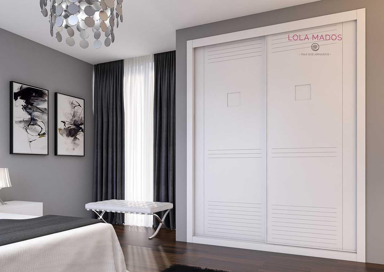 Armario de puertas correderas a medida lacado blanco, Serie Lite sin perfiles en la puerta, diseño minimalista