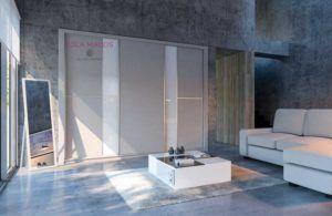 Armarios a medida de puertas correderas vidrio blanco y melamina lino gris
