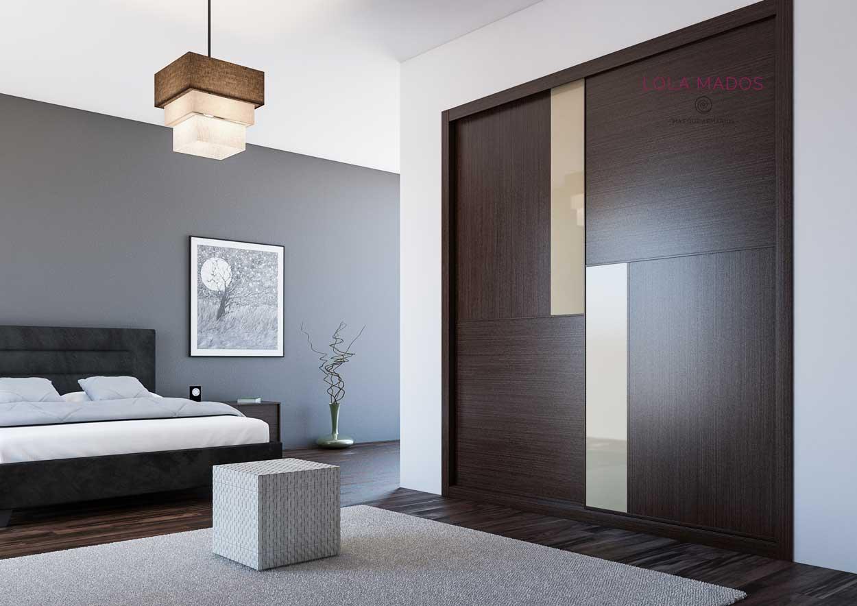 Armario de puertas correderas a medida, diseño minimalista, melamina wengué con vidrio beige