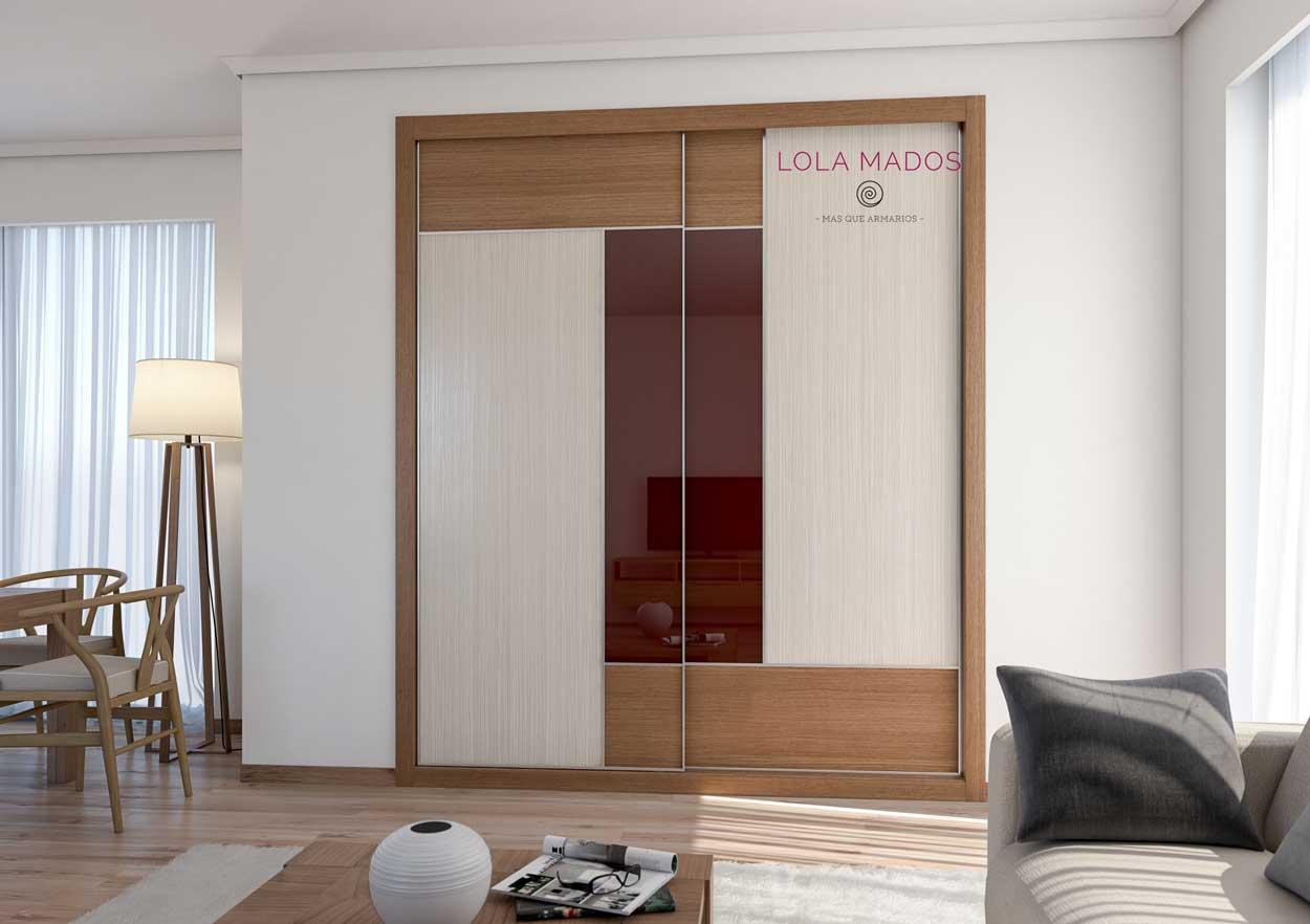 Melamina diseño Fresno marrón y Wood line con espejo chocolate