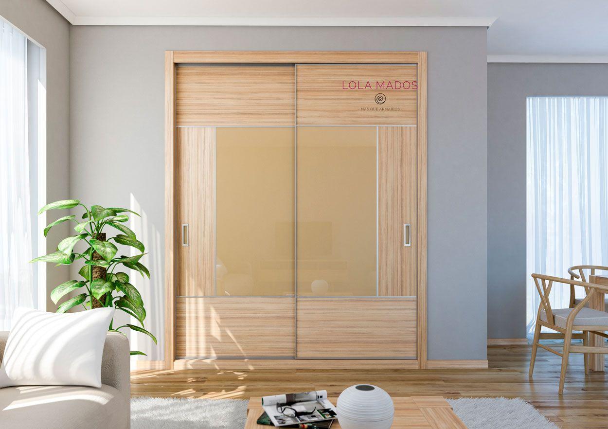 Armario de puertas correderas, Cocobolo y vidrio beige