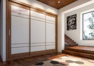 Armario de puertas correderas Nogal y melamina blanca