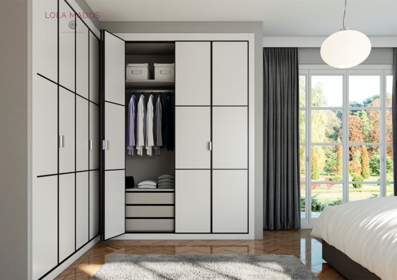 armarios plegable, melamina blanca con perfiles en negro