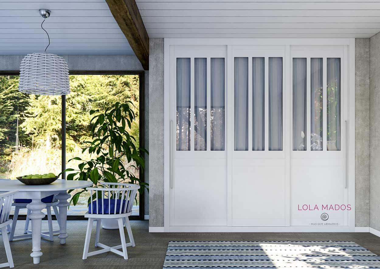 Armario de puertas correderas, lacado blanco con ventana para cortinas