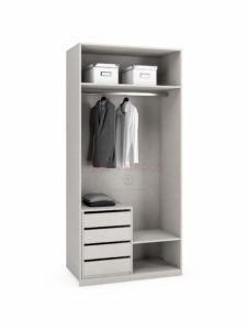 interior armario con baldas y cajones