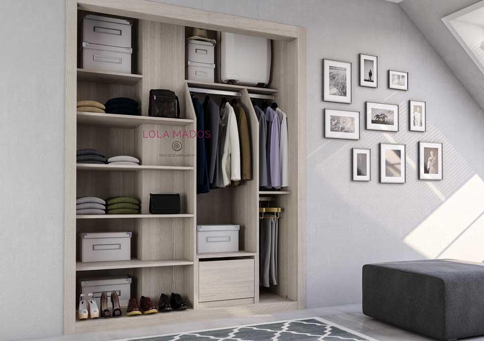 Hacer interior de armarios empotrados a medida blancos for Papel para forrar armarios empotrados