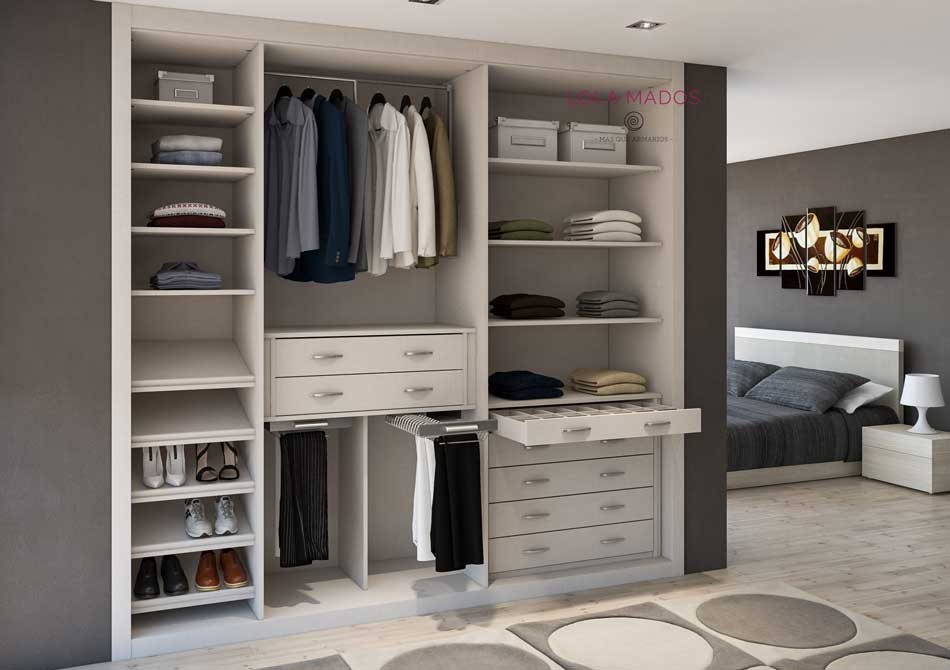 Hacer interior de armarios empotrados a medida blancos lola mados - Como forrar un armario por dentro ...